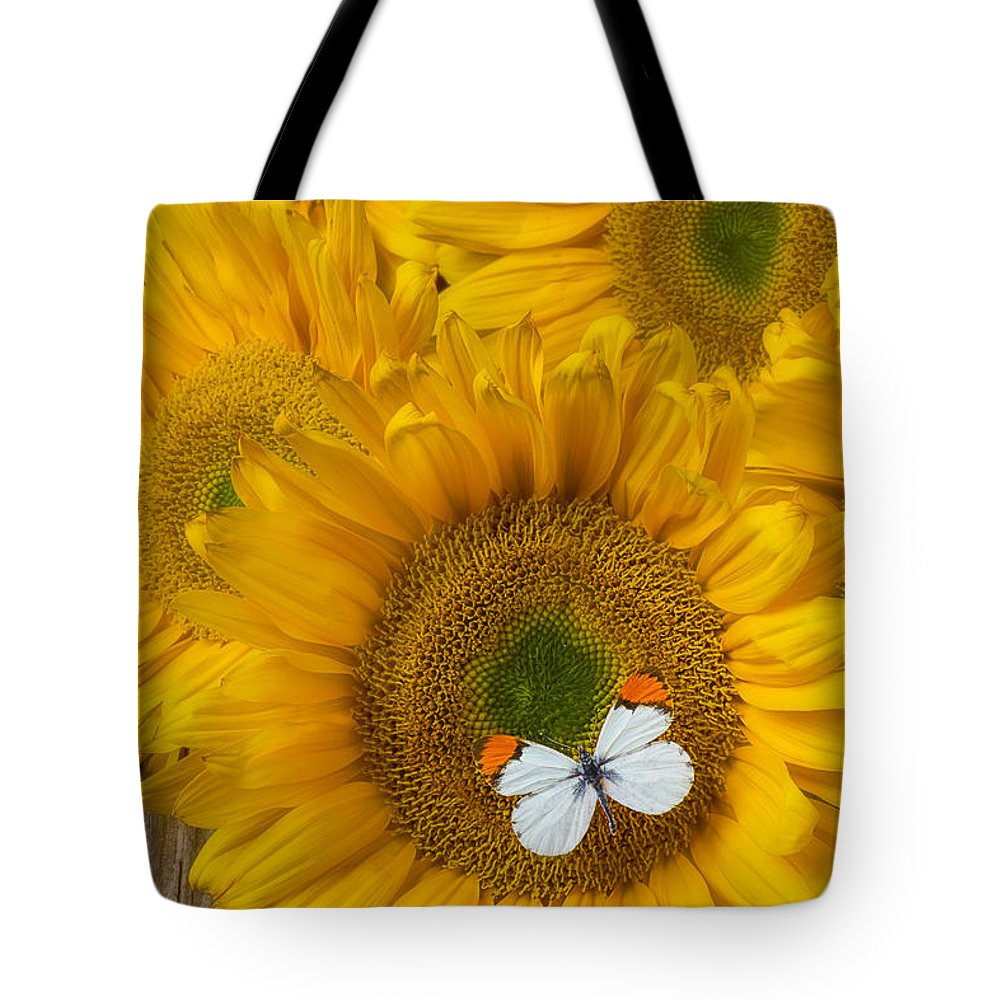 Our Tote Bag featuring the photograph Sunflower With White Butterfly by Garry Gay