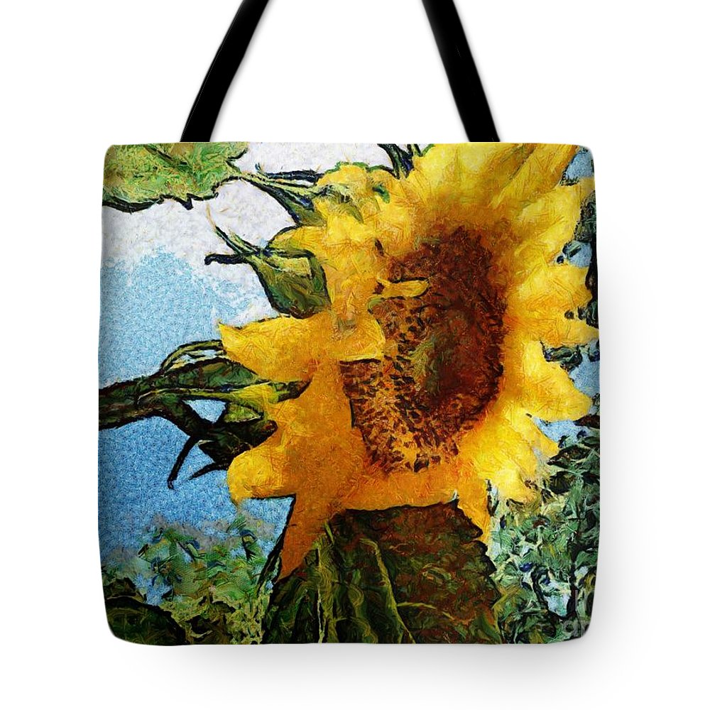 Sunflower Tote Bag featuring the mixed media Sunflower World by SiriSat