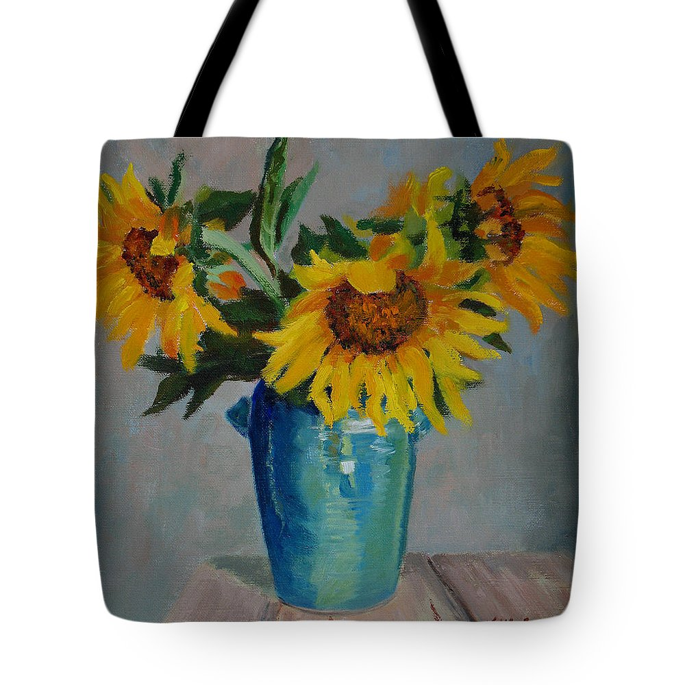 Impressionism Tote Bag featuring the painting Sunflowers In Blue Vase by Keith Burgess