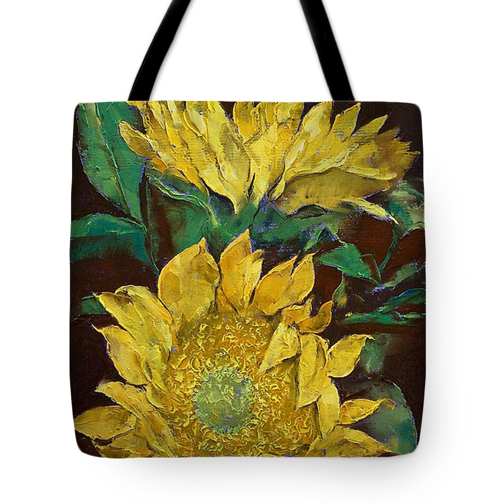 Sunflowers Tote Bag featuring the painting Sunflowers by Michael Creese