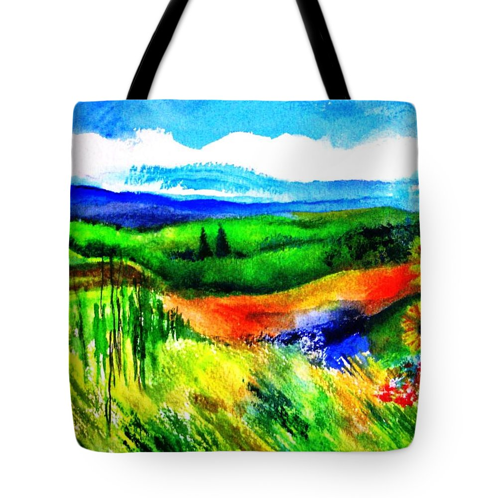 Landscape Tote Bag featuring the painting Sunflowers Near Greve by Kandy Cross