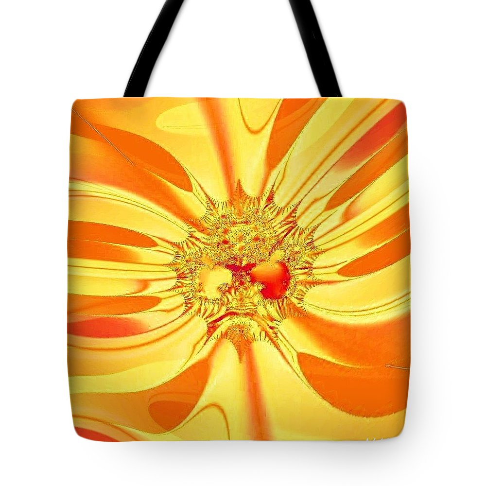 Sunglow Fractal Tote Bag featuring the digital art Sunglow Fractal by Maria Urso