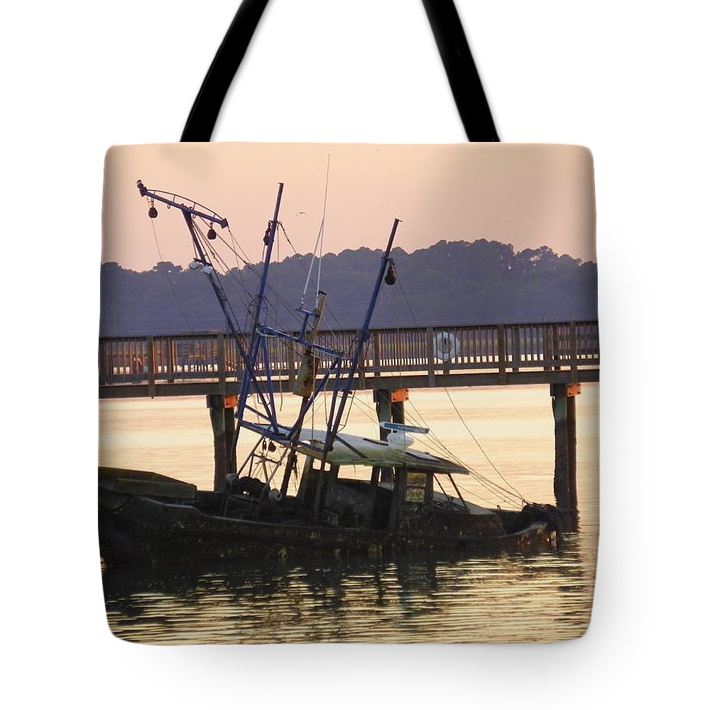 Sunken Boat Tote Bag featuring the photograph Sunken Boat by Lisa Wooten