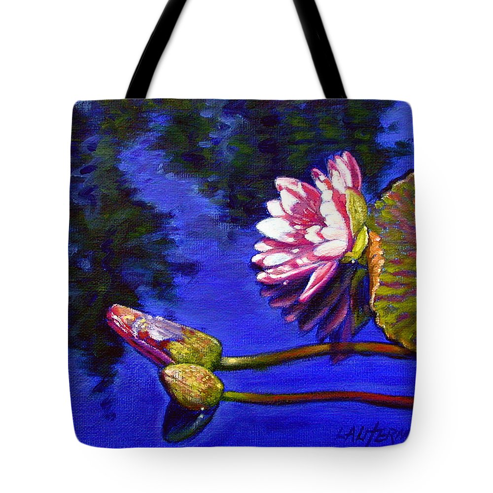 Water Lily Tote Bag featuring the painting Sunlight On Pink by John Lautermilch