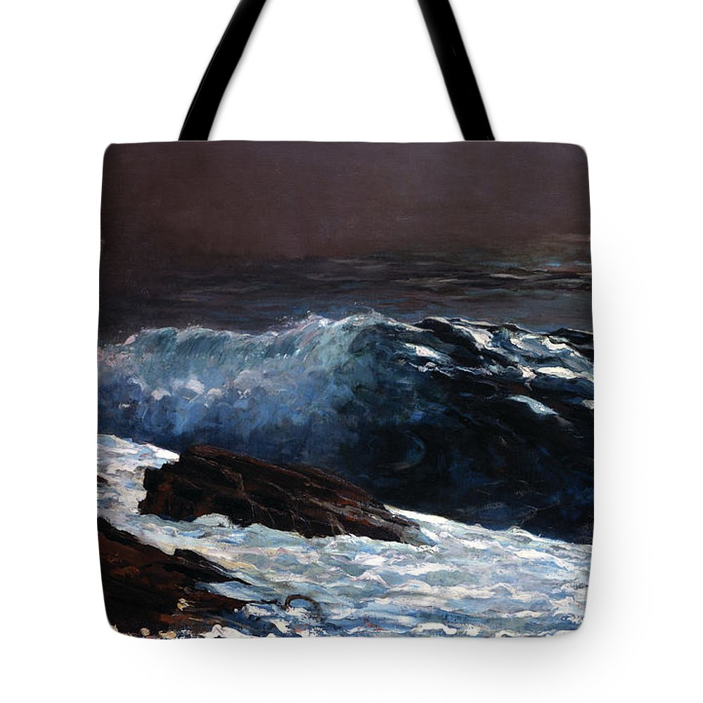 Winslow Homer Tote Bag featuring the painting Sunlight On The Coast by Celestial Images