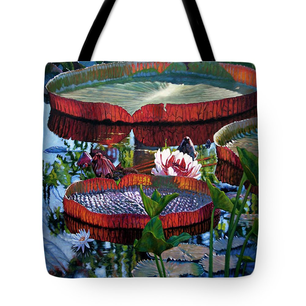 Garden Pond Tote Bag featuring the painting Sunlight Shining Through by John Lautermilch