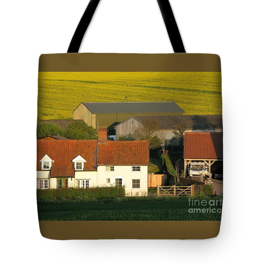 Farm Tote Bag featuring the photograph Sunlit Farm by Ann Horn