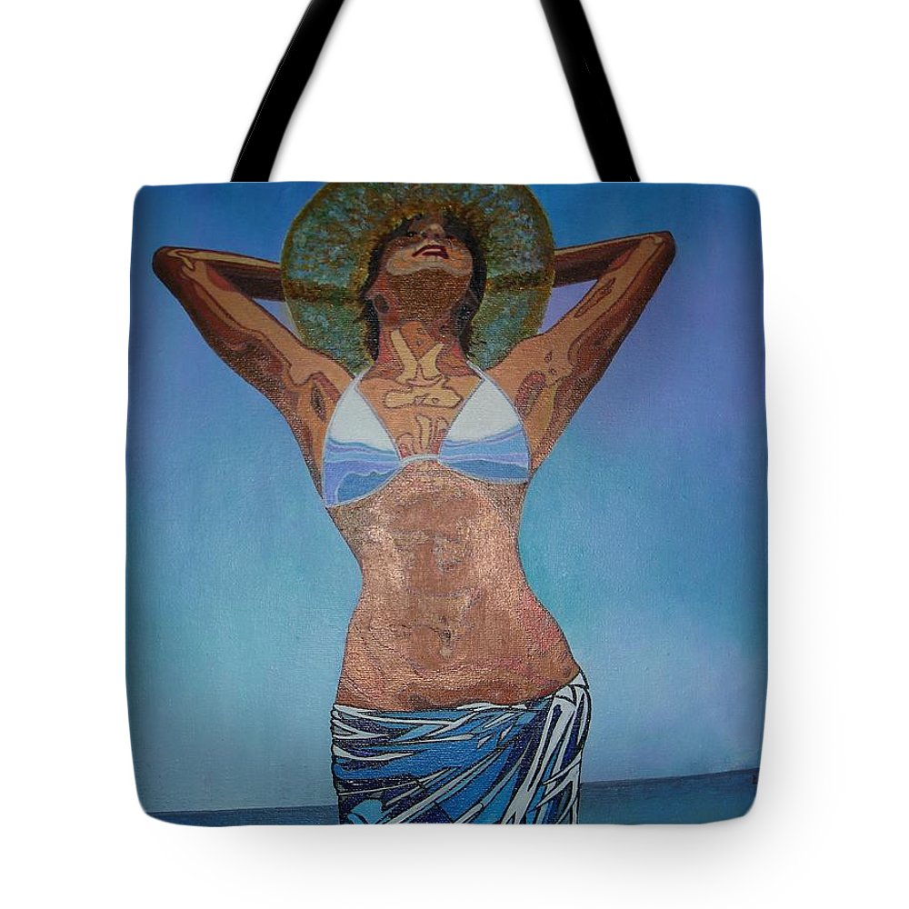 Beach Wear Tote Bag featuring the painting Sunny Delight by Taiche Acrylic Art