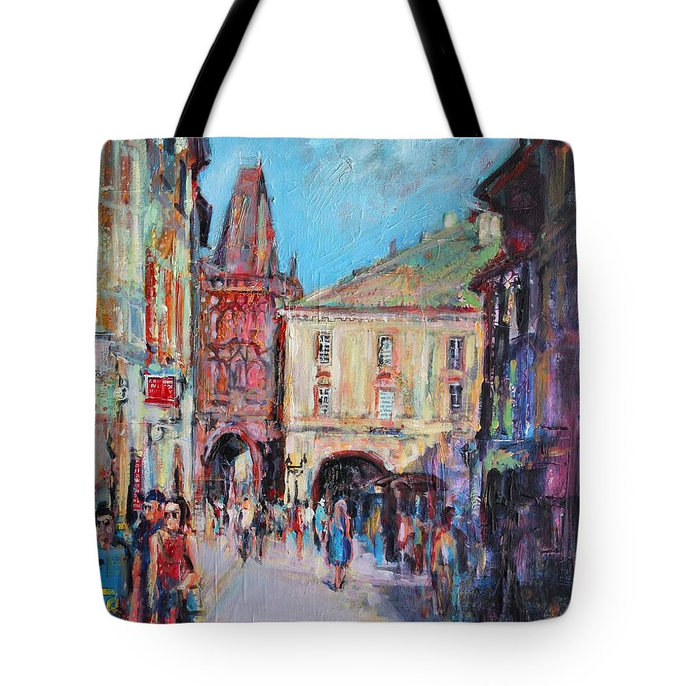 Prague Tote Bag featuring the painting Sunny Side Prague by Sylvia Paul
