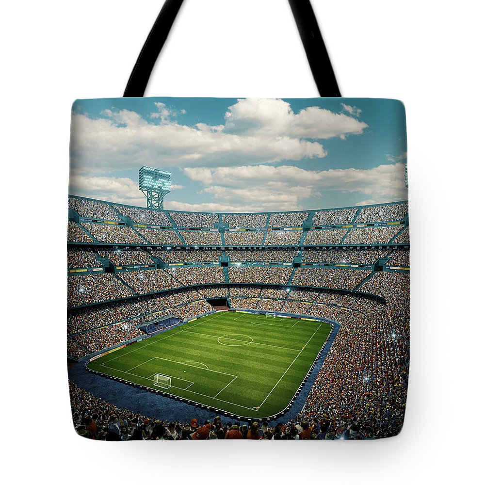 Event Tote Bag featuring the photograph Sunny Soccer Stadium Panorama by Dmytro Aksonov