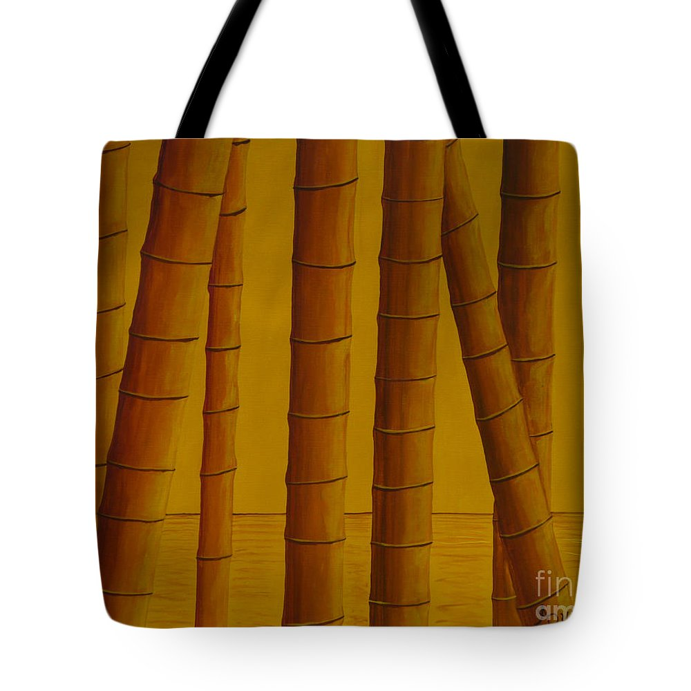 Bamboo Tote Bag featuring the painting Sunrise At Bamboo Grove by Anthony Dunphy