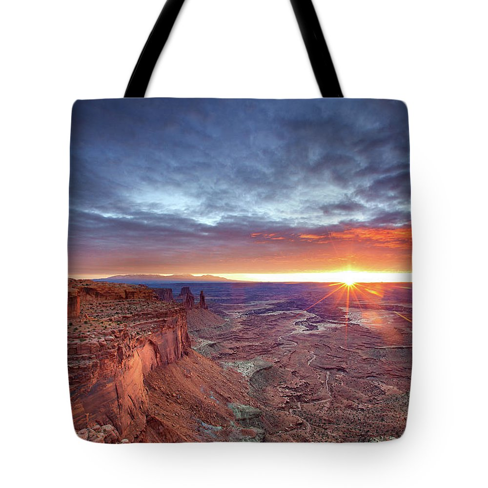 Tranquility Tote Bag featuring the photograph Sunrise At Canyonlands by Hansrico Photography