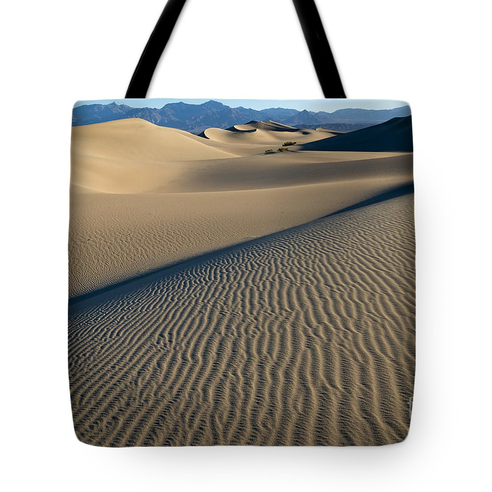 Southwest Tote Bag featuring the photograph Sunrise At Mesquite Flat Sand Dunes by Sandra Bronstein
