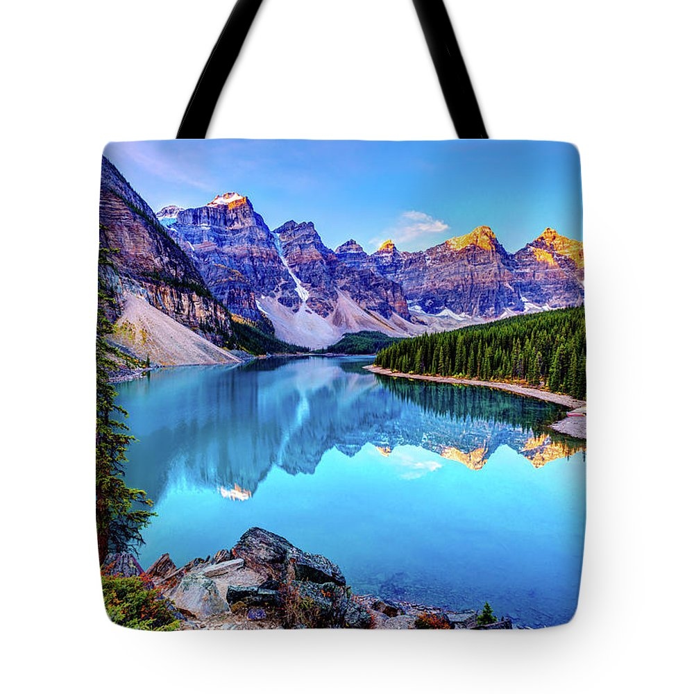 Tranquility Tote Bag featuring the photograph Sunrise At Moraine Lake by Wan Ru Chen