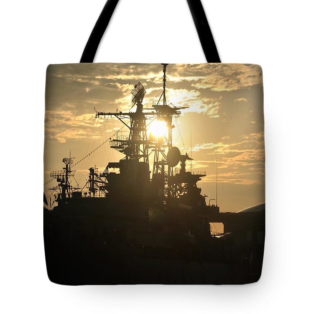 Sunrise Tote Bag featuring the photograph Sunrise At The Naval Base Silhouette Erie Basin Marina V2 by Michael Frank Jr
