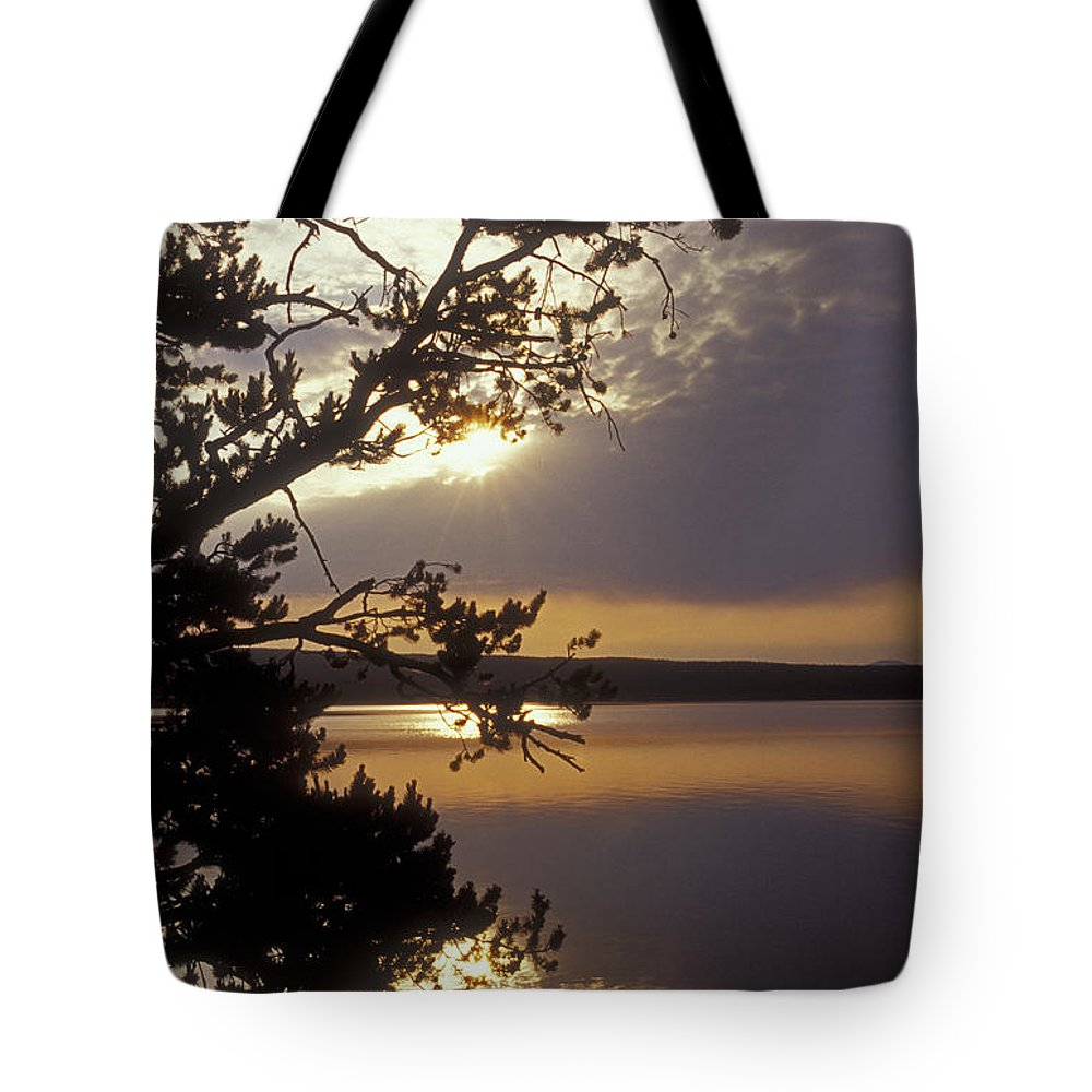 Yellowstone Tote Bag featuring the photograph Sunrise At Yellowstone Lake by Sandra Bronstein
