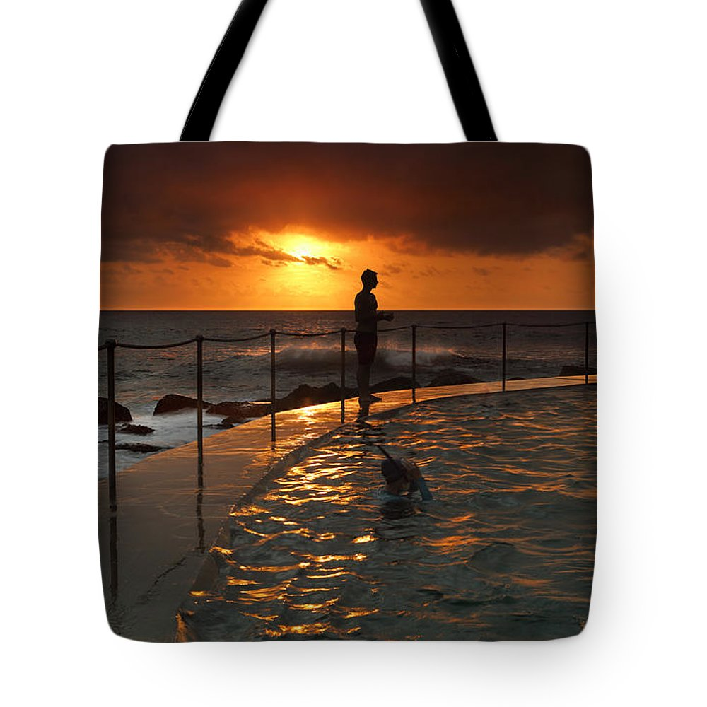 Sunrise Tote Bag featuring the photograph Sunrise Bronte Baths by Leah-Anne Thompson