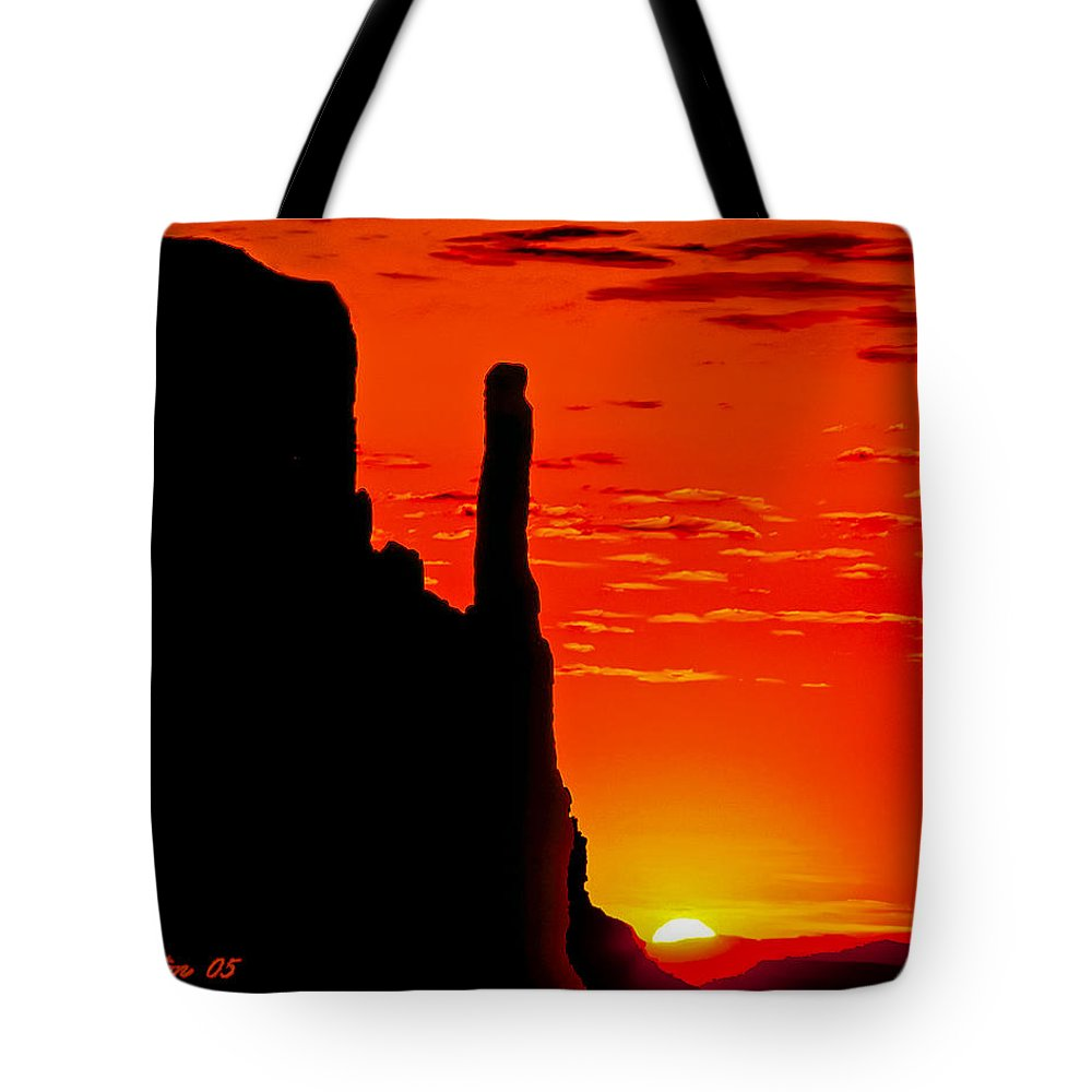 Sunrise Tote Bag featuring the painting Sunrise In Monument Valley by Bob and Nadine Johnston