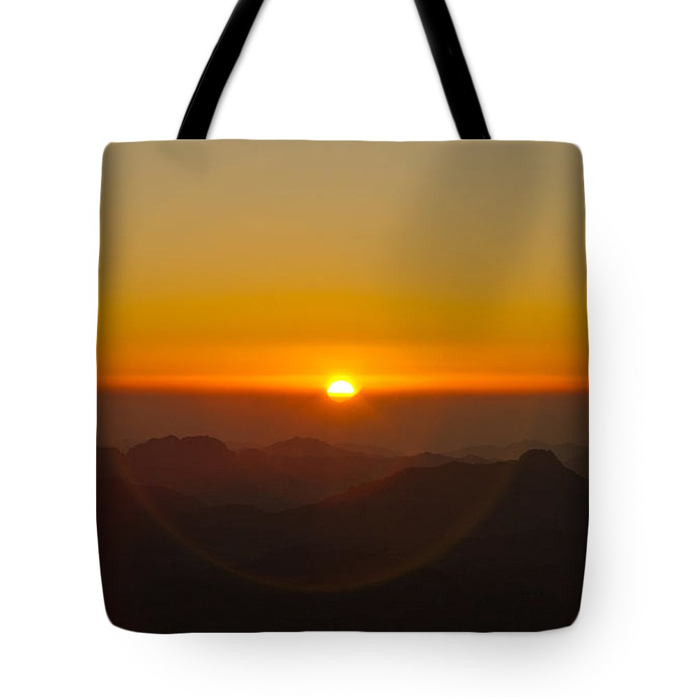 Sinai Tote Bag featuring the pyrography Sunrise In Sinai Mountains by Julis Simo