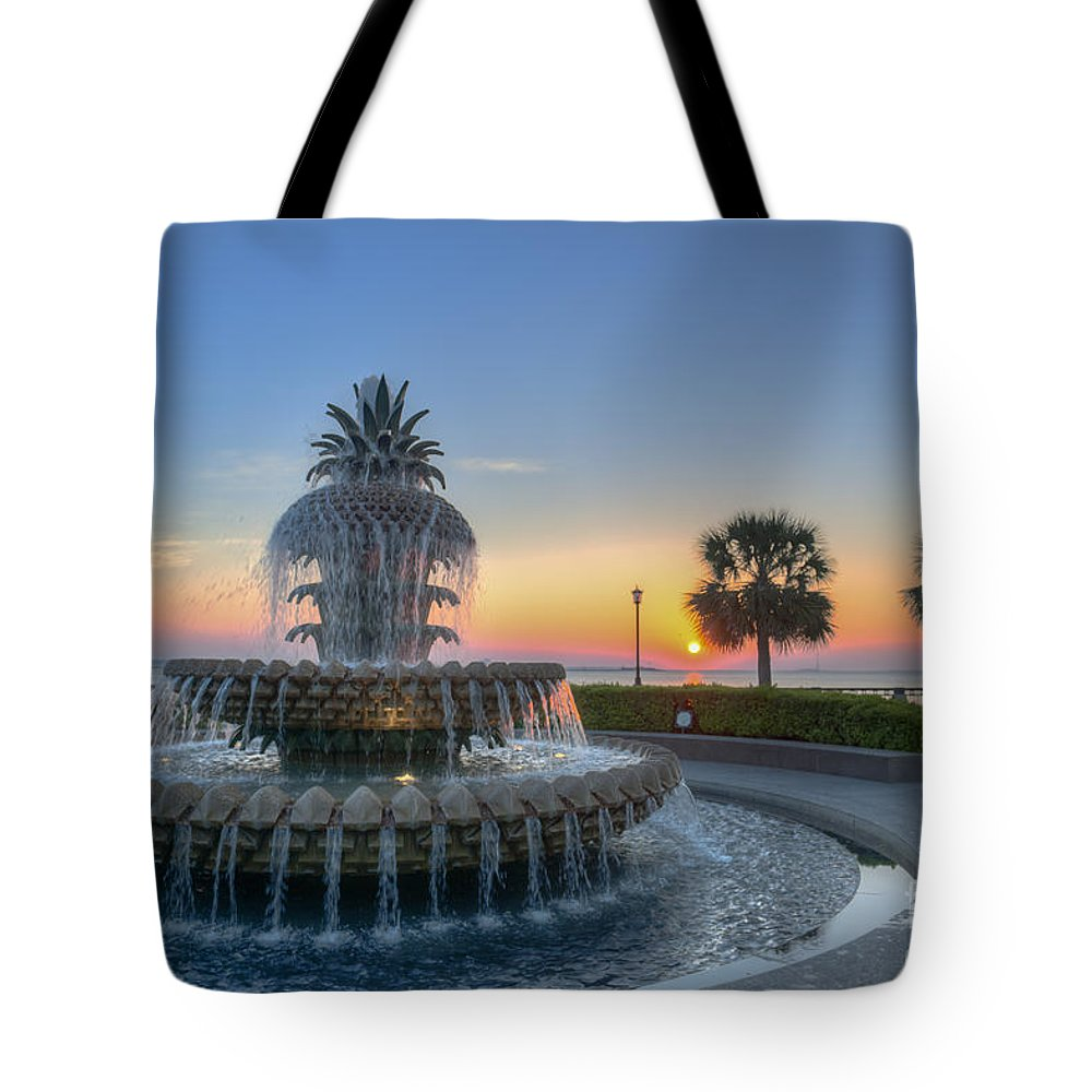 Pineapple Fountain Tote Bag featuring the photograph Sunrise In The Lowcountry by Dale Powell