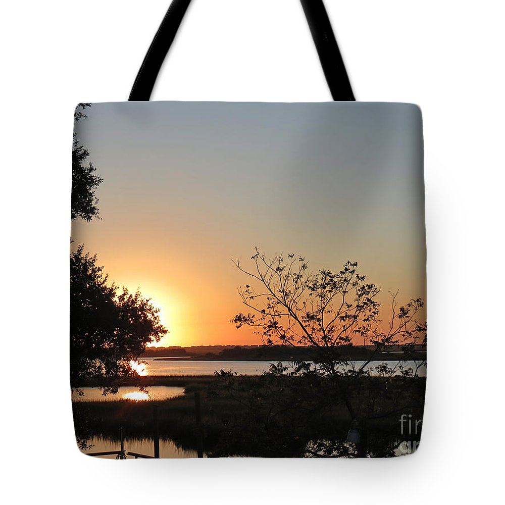 Crissy Anderson Tote Bag featuring the photograph Sunrise Is Calling On Nc Waterway by Crissy Anderson