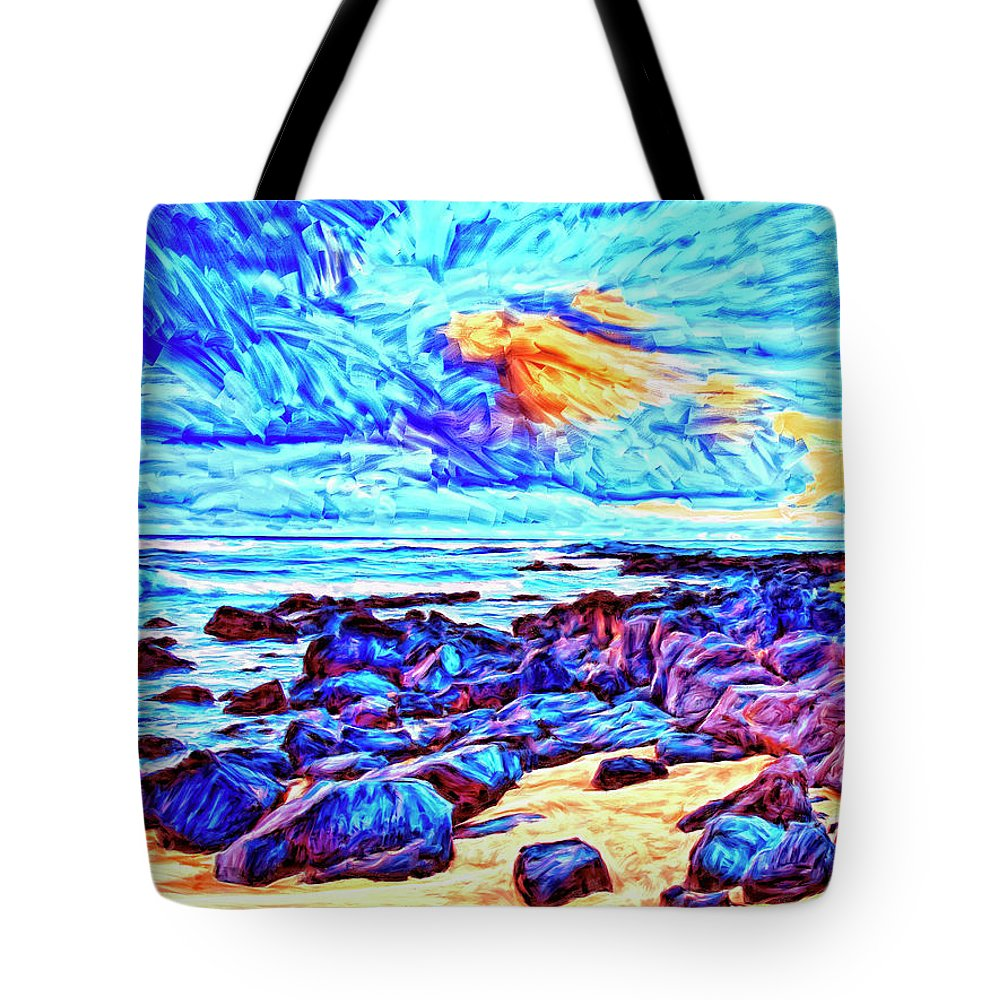 Sunrise Near Poipu Beach Tote Bag featuring the painting Sunrise Near Poipu Beach by Dominic Piperata