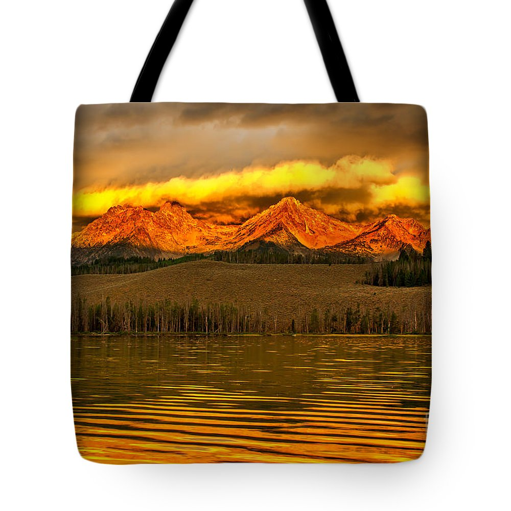 Rocky Mountains Tote Bag featuring the photograph Sunrise On Little Redfish Lake by Robert Bales