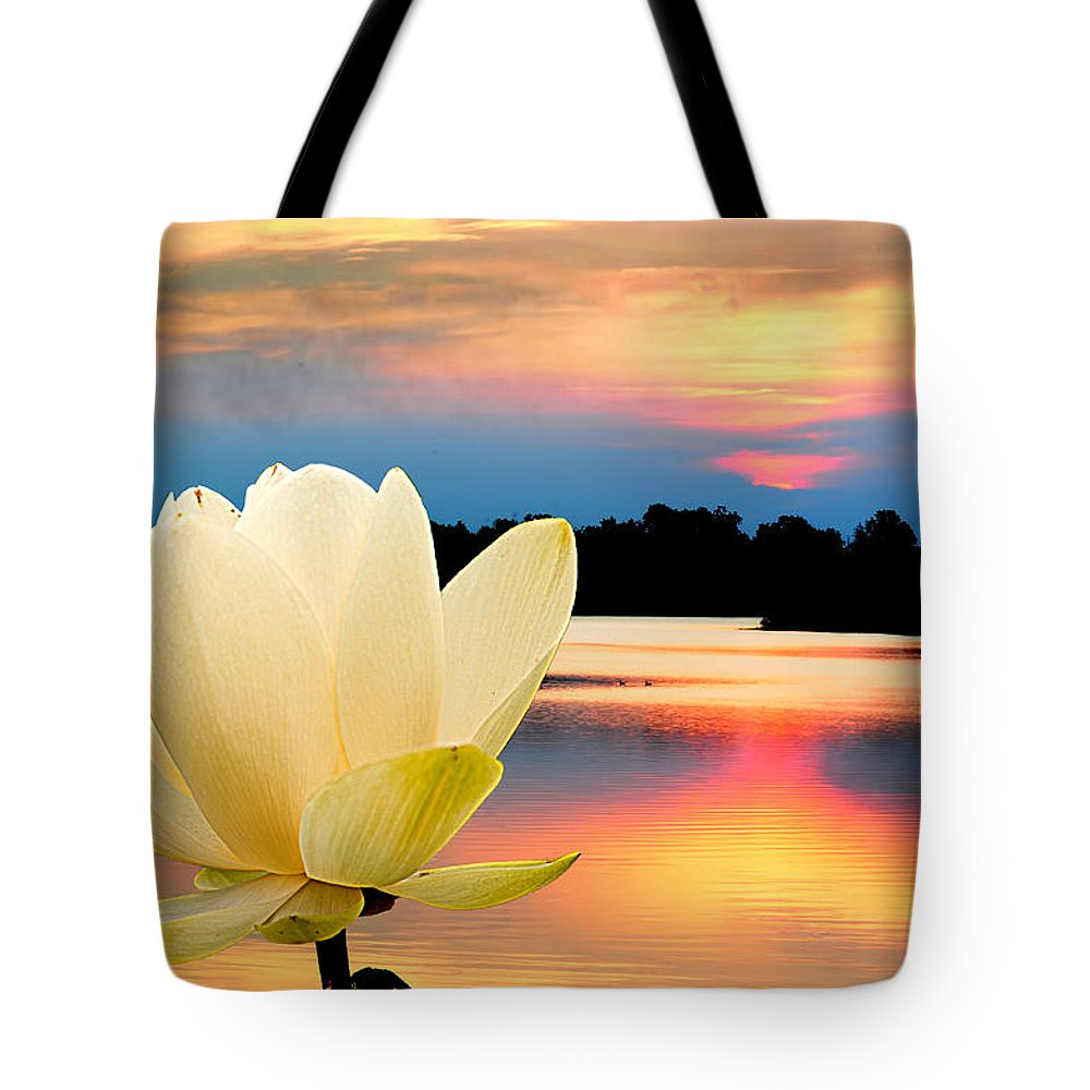 Tote Bag featuring the photograph Sunrise On Lotus Lillie by Randall Branham