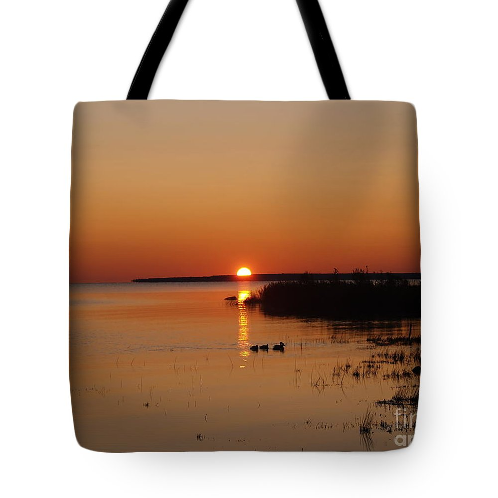 Mackinac Straits Tote Bag featuring the photograph Sunrise On Mackinaw by Melissa McDole