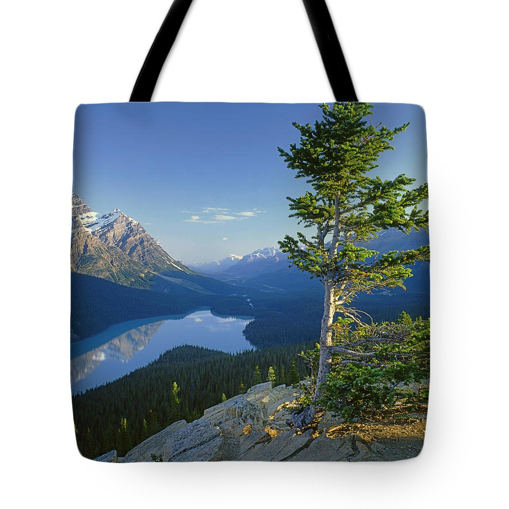 Sunrise Tote Bag featuring the photograph 1m3608-sunrise On Peyto Lake by Ed Cooper Photography