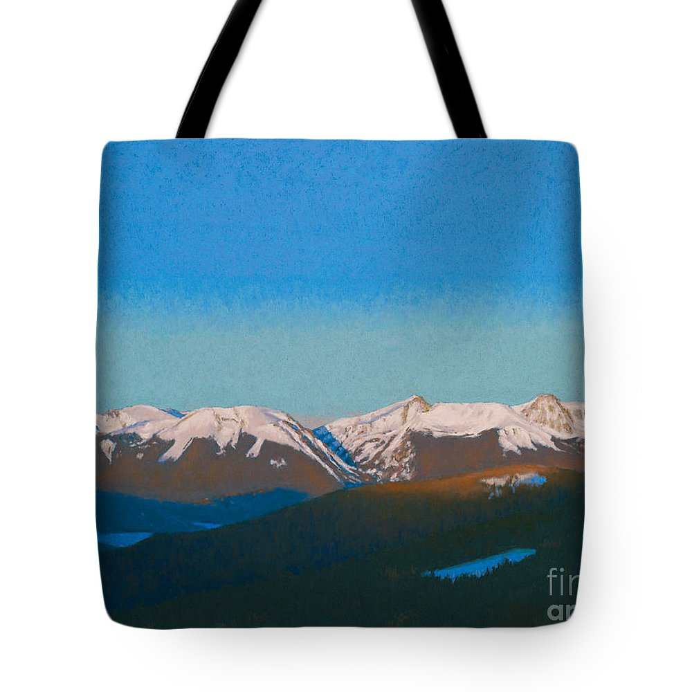 Colorado Tote Bag featuring the painting Sunrise On The Gore. by Drew Gibson