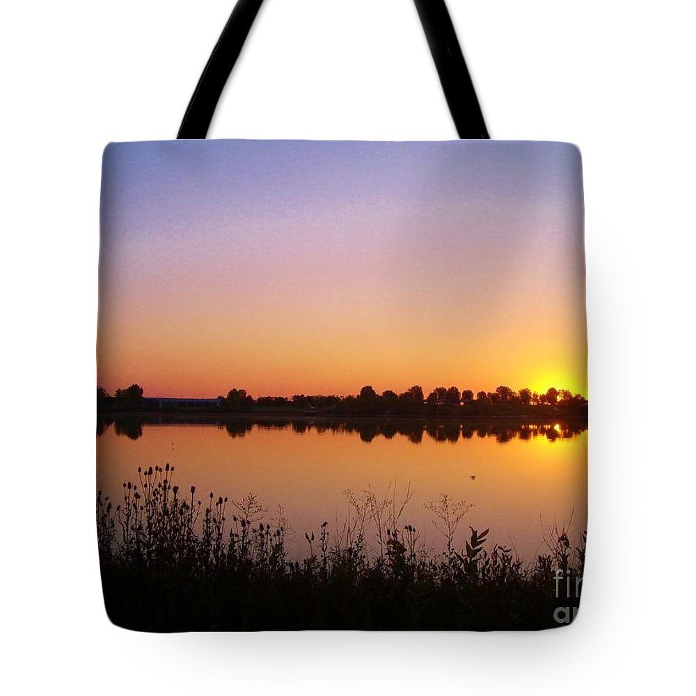 Lake Tote Bag featuring the photograph Sunrise On The Lake by Marcia Breznay