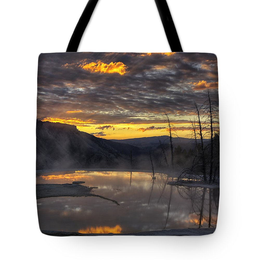Yellowstone National Park Tote Bag featuring the photograph Sunrise On The Terrace by Mark Kiver