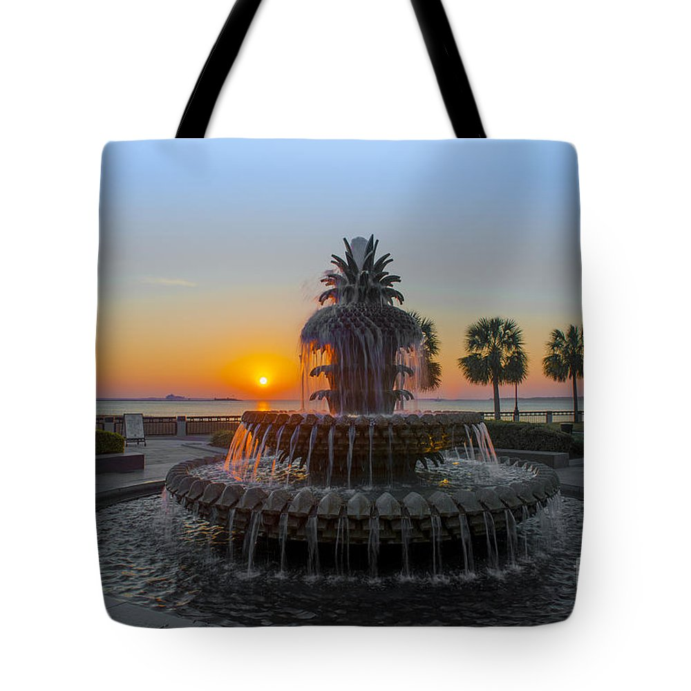 Pineapple Fountain At Waterfront Park In Downtown Charleston Sc Tote Bag featuring the photograph Sunrise Over Charleston by Dale Powell