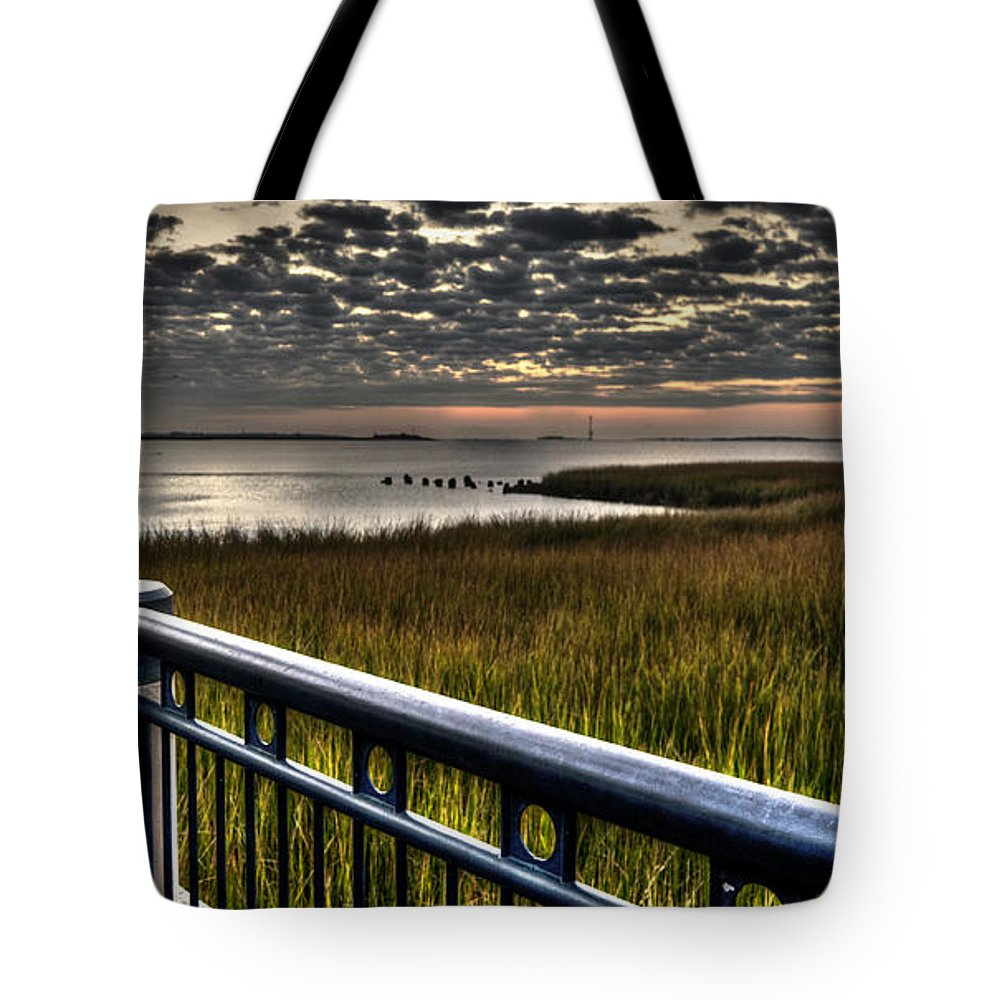 High Tote Bag featuring the photograph Sunrise Over The Cooper River by Deborah Klubertanz