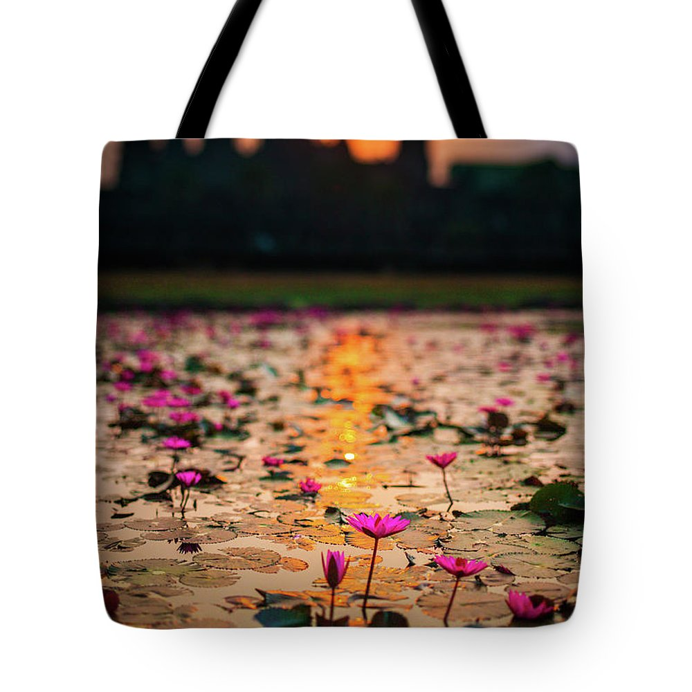 Tranquility Tote Bag featuring the photograph Sunrise Over The Lotus Flowers Of by © Francois Marclay