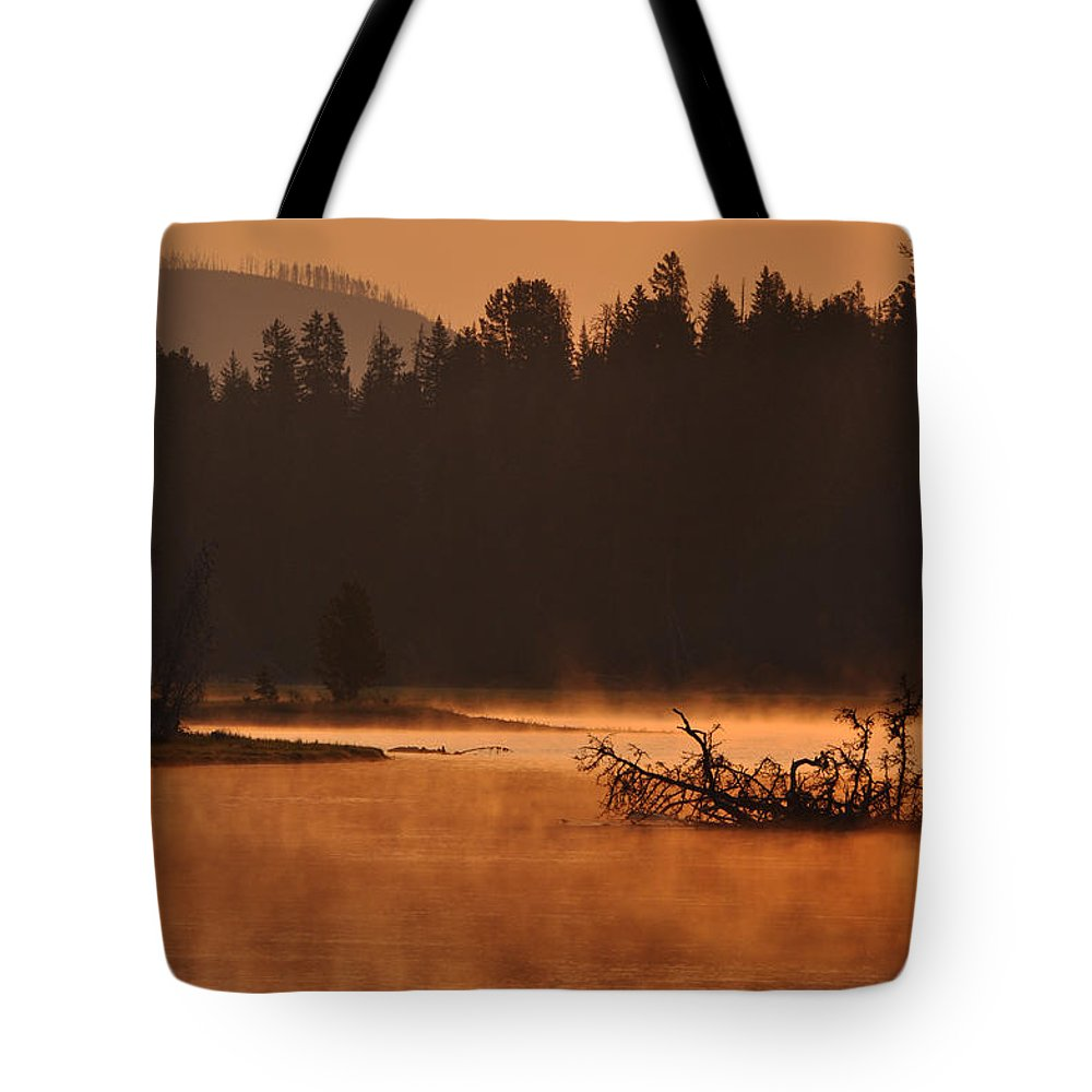 Smoke Tote Bag featuring the photograph Sunrise Over The Yellowstone River by Bruce Gourley