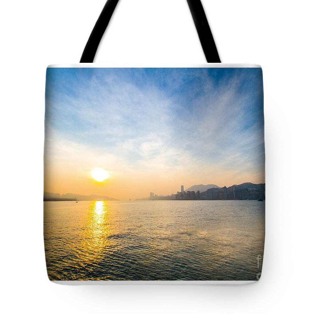 Sunrise Tote Bag featuring the painting Sunrise by Philip HP Wong