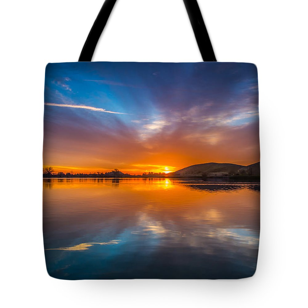 Landscape Tote Bag featuring the photograph Sunrise Reflection by Marc Crumpler