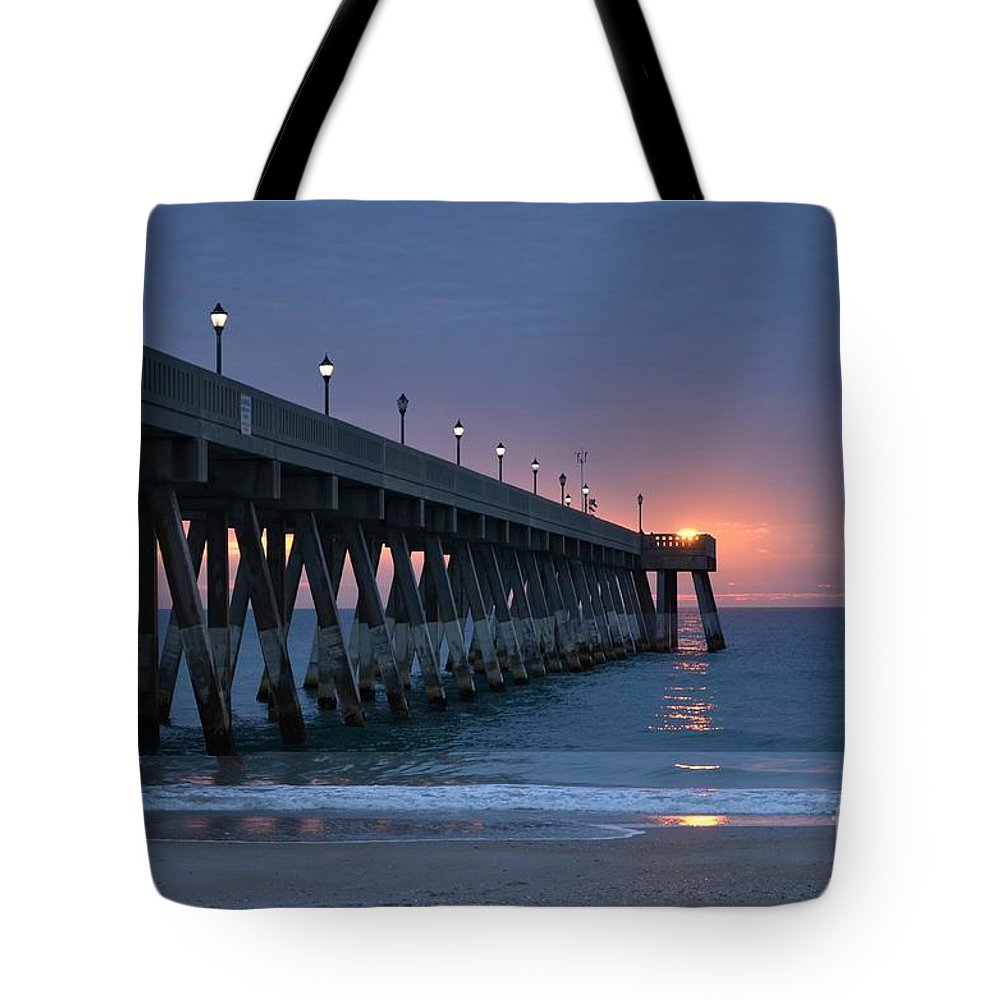 Blue Tote Bag featuring the photograph Sunrise Reflections by Bob Sample