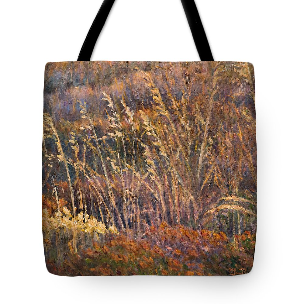 Grass Tote Bag featuring the painting Sunrise reflections on dried grass by Marco Busoni