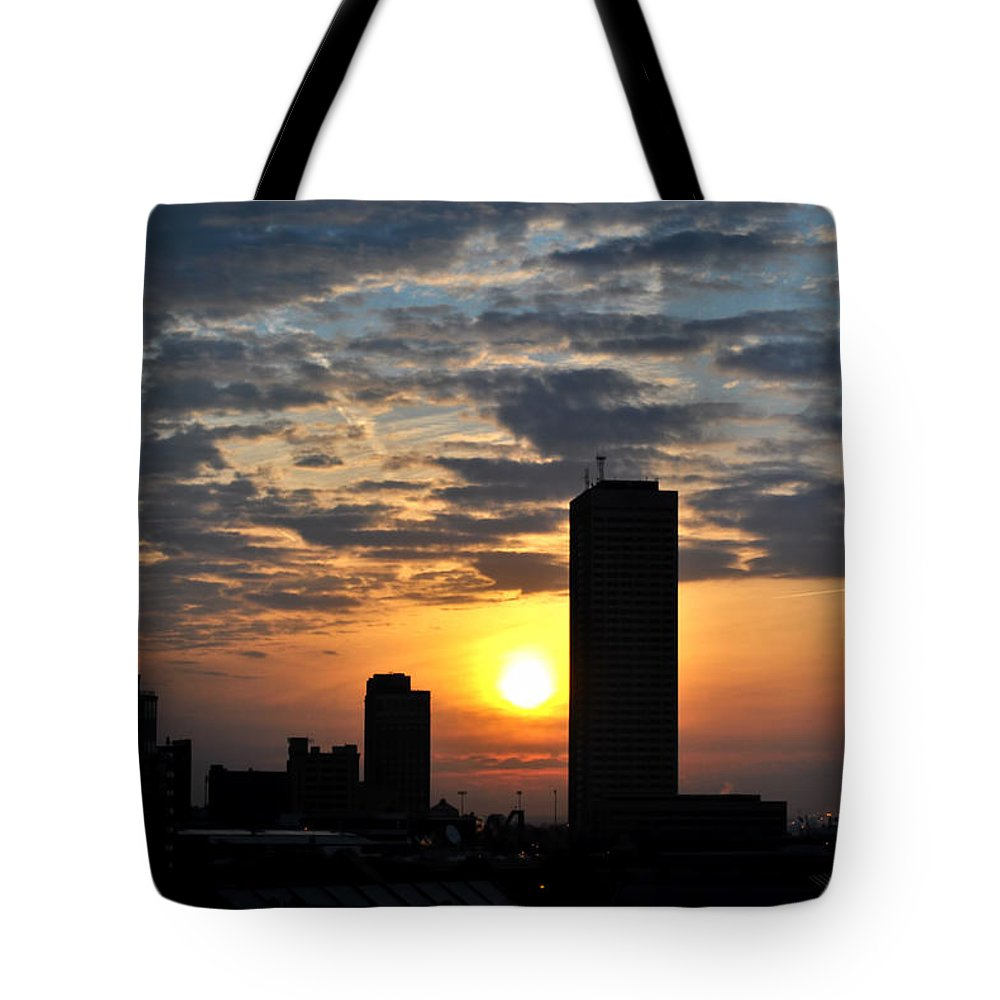 Sunrise Tote Bag featuring the photograph Sunrise Silhouette Buffalo Ny V1 by Michael Frank Jr