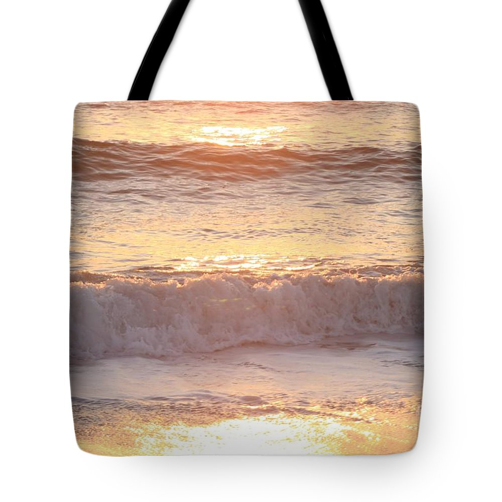 Waves Tote Bag featuring the photograph Sunrise Waves by Nadine Rippelmeyer