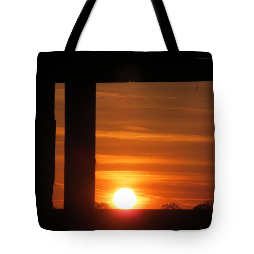 Window Tote Bag featuring the photograph Sunrise Window by Tina M Wenger