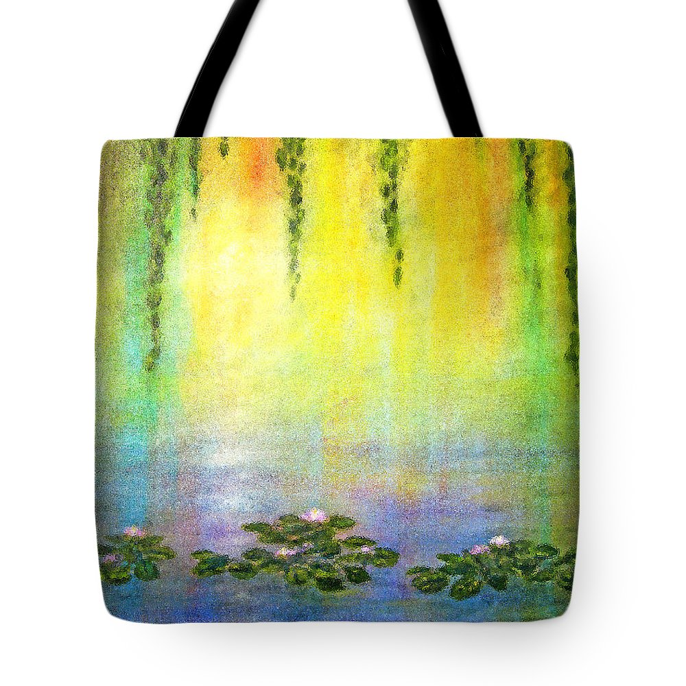 Sunrise Tote Bag featuring the painting Sunrise With Water Lilies by Jerome Stumphauzer