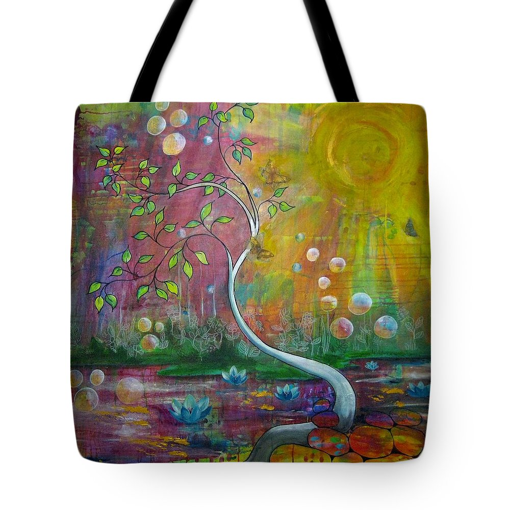Tree Tote Bag featuring the painting Sunseekers by Shirley Lennon