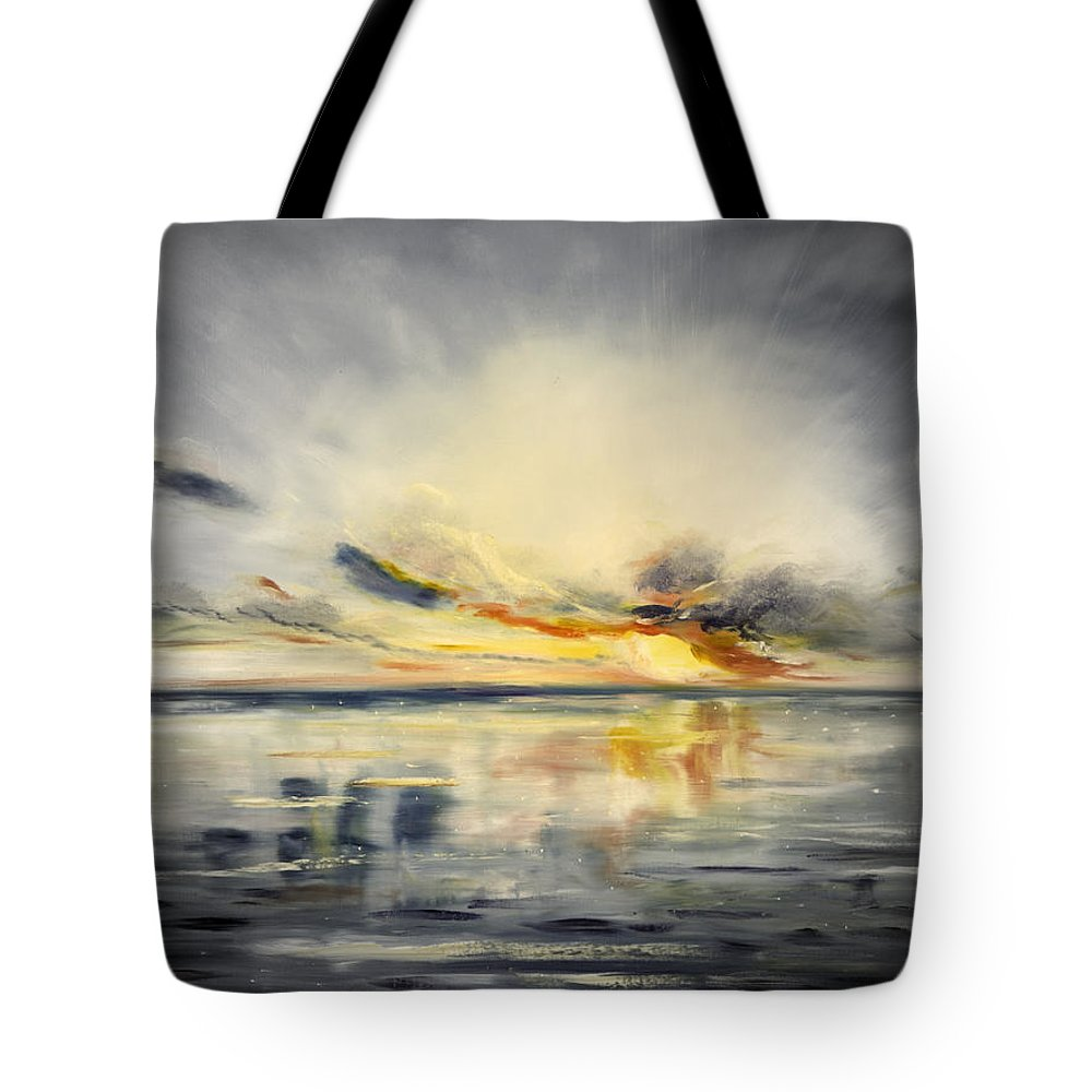 Sunset Tote Bag featuring the painting Sunset 384 by Gina De Gorna