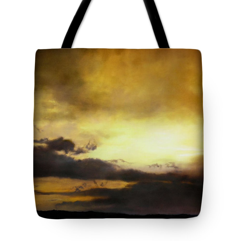 Sunset Tote Bag featuring the painting Pouzol Sunset 92 X 122cm by Thomas Darnell