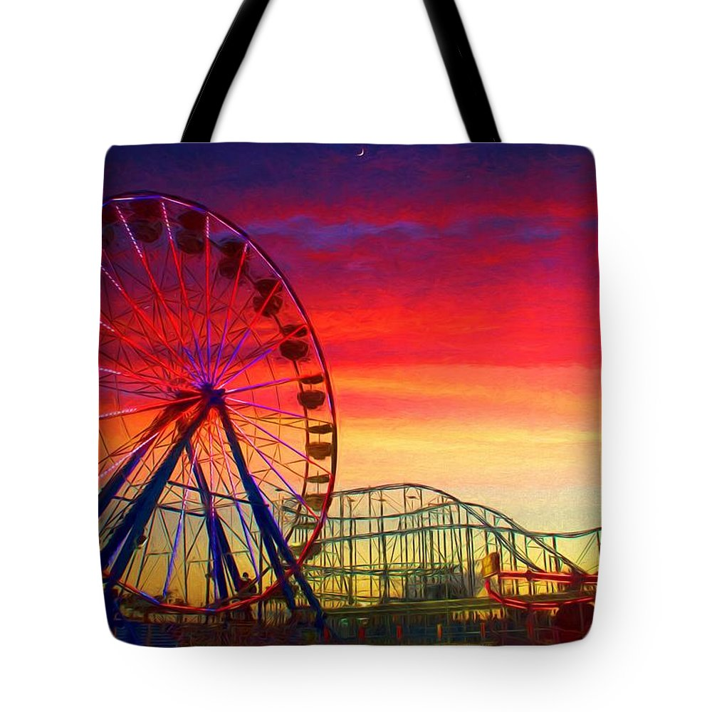 Daytona Beach Boardwalk Ferris Wheel Tote Bag featuring the photograph Sunset And A Sliver Moon by Alice Gipson