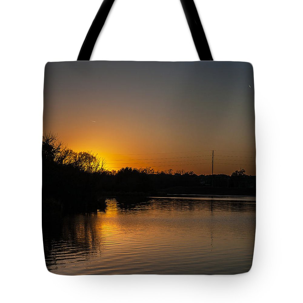 Fall Tote Bag featuring the photograph Sunset And Contrails by Edward Peterson